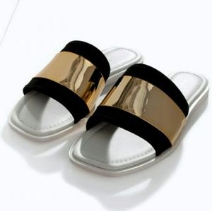 Zara Gold & Black Flat Sandals